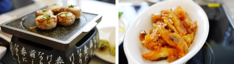 Left: a dish of Button Mushroom Tapas. / Right: a plate of Sweet and Sour Pork with shiitake.