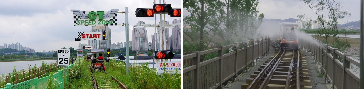 Left: a start line of SPEED ZONE. A rail bike is getting ready to pedal when the light changes to green. / Right: a picture of a rail bike passing through the MIST ZONE.