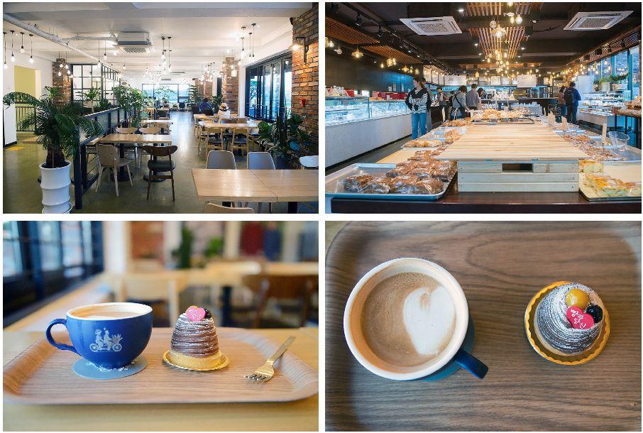パン屋の内部全景とコーヒーとケーキ。
