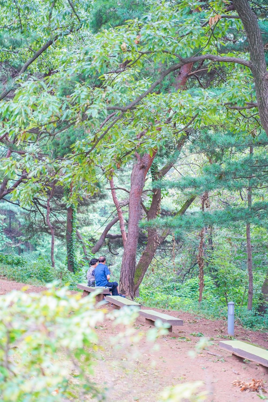 행주산성 벤치에 앉아 쉬는 노부부 풍경